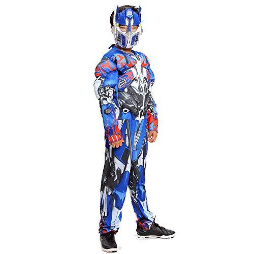 POIUYT Anime Film Cosplay Kostüm Kinderkostüm Muskel Iron Man Kostüm Halloween Party Leistung Superheld Strumpfhosen Kleidung + Maske,Blue-S