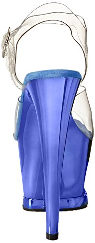 Pleaser Moon-708dmch, Sandales Bout Ouvert Femme Transparent (Clr/Royal Blue Chrome)