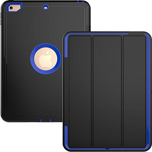 Yoomer Schutzhülle für iPad 9.7 2017/2018, dreilagig, robust, mit magnetischer Auto-Sleep-/Wake-up-Funktion, Hybrid-Leder-Ständer für iPad 6. Generation 9,7 Zoll, blau (Auto-zubehör Dallas)