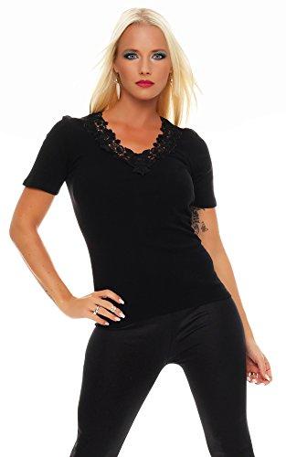Damen-Hemd mit Spitze und V-Ausschnitt (Shirt, Top, Damenhemd) Nr. 404  Schwarz