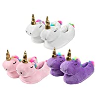 Unicorn Plush Slippers One Size House Shoes Cosy Soft Warm Anti-slip for Women Girls