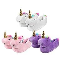 Unicorn Plush Slippers One Size House Shoes Cosy Soft Warm Anti-slip for Women Girls