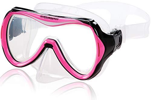 AQUAZON Maui Junior Medium Schnorchelbrille, Taucherbrille, Schwimmbrille, Tauchmaske für Kinder, Jugendliche von 7-14 Jahren, Tempered Glas, sehr robust, tolle Paßform, Farbe:pink