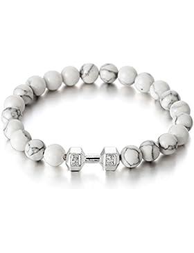 Herren Armband aus 9MM Weiß Edelstein Perlen mit Langhantel Hantel, Prayer Mala