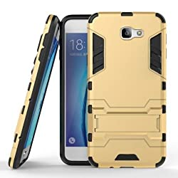 Hybrid Defender Samsung Galaxy J7 Max Back Case cover KickStand + Dual Shield - Gold