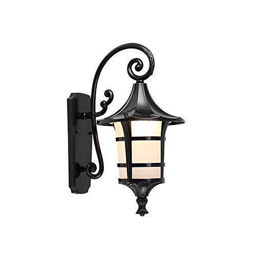 Preisvergleich Produktbild XGGYO Retro- Licht im Freien,  Garten-wasserdichte Glaswand-Laterne E27 druckgegossene Aluminiumrostschutzwand-Leuchte / Schwarz / Mittel