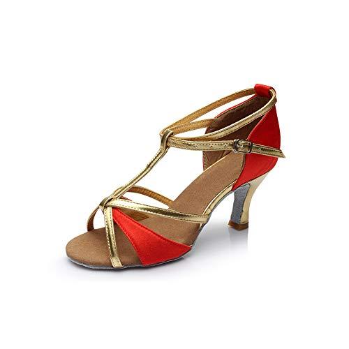 WHL.LL Des femmes Correspondance couleurs Chaussures danse latine Type t Sangle cheville Boucle Talon haut Chaussures danse Confortable (hauteur du talon: 7cm)