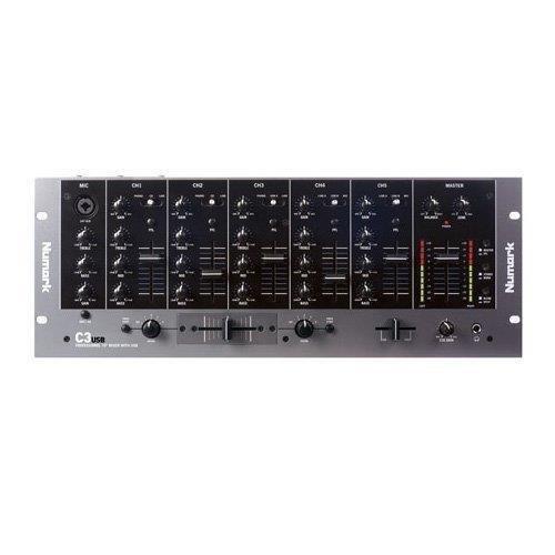 Numark C3USB - 5 Kanal-Rack-Mixer für mobile DJs mit integriertem Plug-Und-Play-USB-Audio-Interface, Kanal-EQs, austauschbarem Crossfader und für die Performance ausgelegten Eingängen / Ausgängen (Desktop Mixer)