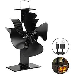 EXTSUD Ventilateur de Poêle à Bois à 4 Pales Ventilateur de Cheminée Silencieux Circulation de Chaleur Alimenté par la Chaleur pour Poêles à Bois et Cheminées, Respectueux de l'environnement
