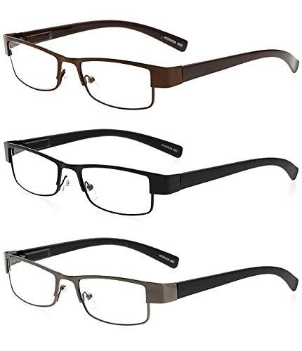 BestWahl Lesebrillen Metall Sehhilfe Augenoptik Brille Lesehilfe für Damen Herren (3 Farben(Schwarz Grau Braun), 2.0)
