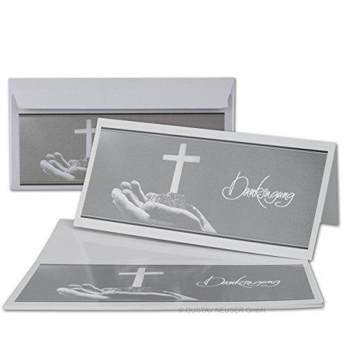 25 x Trauer-Set // Danksagungs-Trauer-Doppelkarten mit Umschlägen DIN Lang 21 x 19,8 cm // Hochglanz // Serie: Heinrich