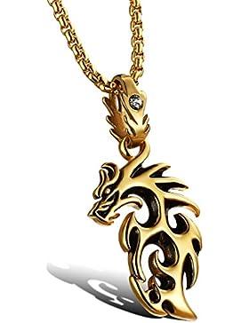 OSTAN - 316L Edelstahl Drachen Ketten mit Anhänger für Herren - Neue Mode Schmuck Halskette, Gold