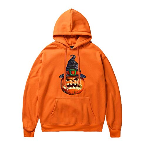 Kostüm Damen Teal - Unisex Happy Halloween Kostüm Grusel Trick or Treat Herren Halloween Kostüm Rundhals Hoodies Kürbiskopf Couple's Damen Halloween Shirt Kürbis Fun Sweatshirt