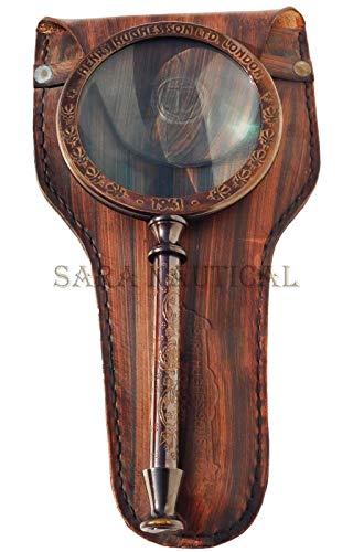 Sara Nautical Henry Hughes Vergrößerungslupe mit Lederetui, 25,4 cm -