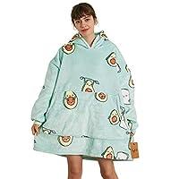 IvyH Oversized Hoodie Sweatshirt Deken, Fashion Print Sherpa Draagbare Deken Warm Gezellige TV Deken met Mouwen en Pocket voor Volwassenen Mannen Vrouwen Tieners