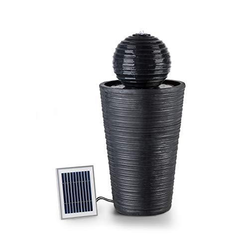 Blumfeldt liquitorre - fontana da giardino, fontana solare, pompa 200 l/h, superficie fotovoltaica 2 w / 300 cm², sunriver technology, funzionamento a batteria, 4 led, poliresina, nero