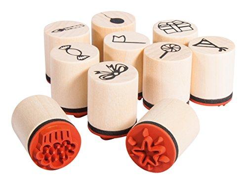 Rayher Hobby 68098000 Set 10 Mini-Holzstempel Celebrate, 2,5cm, 2cmø, Motive rund ums Feiern, zum Gestalten von Karten, Geschenkanhängern... Motivstempel -