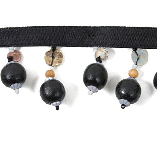 Holz-perlen-trim (Expo International Holz Ball Perlen Fransen Trim, 10yd, schwarz)