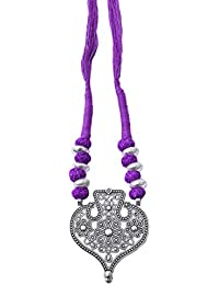 Giftpiper Threaded German Silver Necklace Heart Shape Pendant-Purple