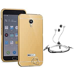 Droit Luxury Metal Bumper + Acrylic Mirror Back Cover Case For + Meizum2 Stylish Zipper Handfree and Good QualitySound by Droit Store.