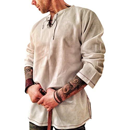 Realde Herren Hemd Langarmshirt Einfarbig Slim Fit T-Shirt Baumwolle und Leinen Sport Bequem Atmungsaktiv Viele Grün grau Oberteile S-XXL Vintage Komfort Klassische Top -