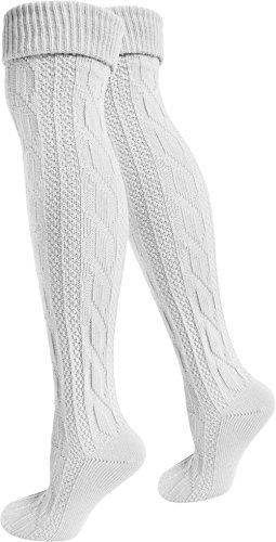 normani 2 x Traditionelle Bayrische Trachtensocken Lange Trachten Socken Strümpfe 80cm Farbe Weiß Größe 43/46