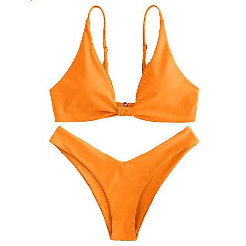 ZAFUL Gepolsterte Bikini Set, Push Up Badeanzug mit Vorderknoten-Hinterhaken-Stil in einfarbige Bademode Sommer (Orange, S)