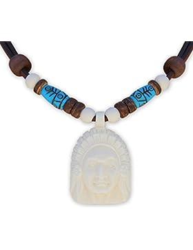 HANA LIMA ® Indianerkette Lederkette Indianerschmuck Halskette Surferkette Herrenkette Damenkette