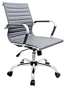 Febland Grey Eames Style Office Chair Faux Leather Kitchen Home