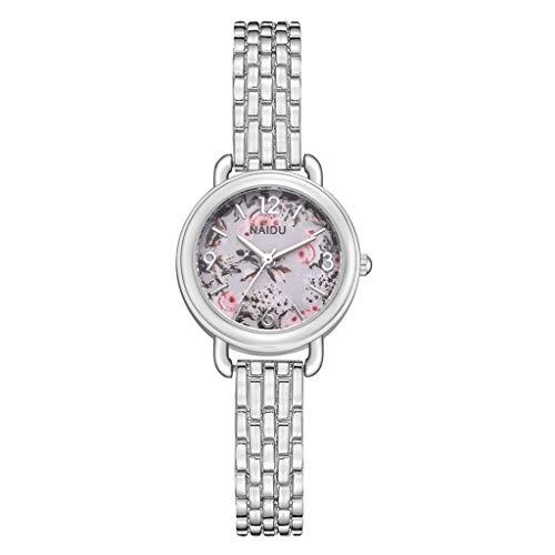 Tohole damenuhr Frauen Edelstahlarmband Band Analog Quarz Runde Armbanduhr Uhren Legierungs Quarz Uhr der Frauen 1 Uhr + 2 Armbänder(H,One size)