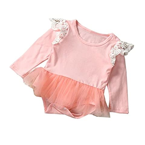 Saingace Bébé Fille Tutu Romper Dentelle Combinaison Bébé vêtements Outfits (Label Size:80(6-12mois), Rose)