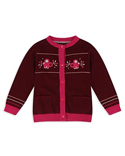 The Essential One - Baby Kinder Mädchen Strickjacke/Cardigan - Burgund - 3-6m - EOT587 (Burgund Strickjacke)