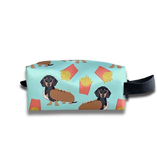 Dackel Hot Dog und Pommes Frites Food Funny Dog Kostüm Netter Hund Wiener Dog_63 Tragbare Reise Make-up Kosmetiktaschen Organizer Multifunktions Fall Taschen für ()