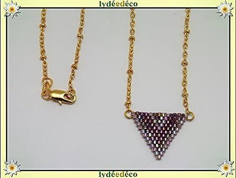 Collier plaqué or perles japonaises mauve violet lilas tissage triangle