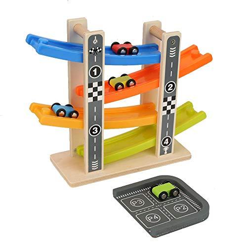Giocattolo rampa con parco, rampa di scorrimento in legno con 4 auto modello di pista da corsa colorato giocattolo cognitivo regalo di natale di compleanno per 3 4 5 6 7 anni bambini ragazze ragazzi