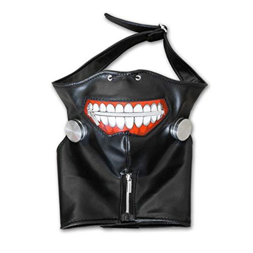 Kaneki Ken Black Leather Zipper Cosplay Maske Silver White Wig Perücken ()