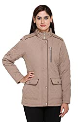 Trufit Full Sleeves Solid Womens Beige Quilting Polyetser Parka Jacket