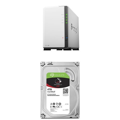 Price comparison product image Synology DS216J 8TB (2x 4TB Seagate IronWolf) 2-bay Desktop Network Attached Storage