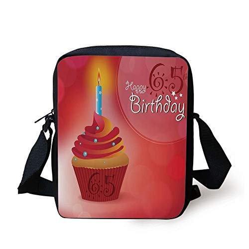 65th Birthday Decorations,Sixty Five Artistic Sun and Stars Figures Cupcake Candle,Red Orange Blue Print Kids Crossbody Messenger Bag Purse