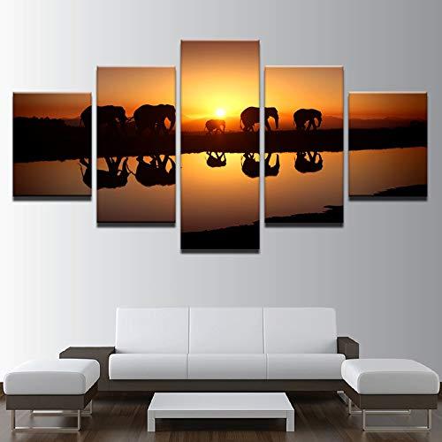 Pintura de la Lona Sala de Estar 5 Paneles de Elefantes de...
