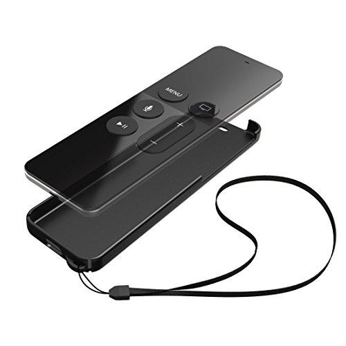 Hama Schutzhülle (Black Shell für Apple TV 4 Siri Remote Fernbedienung, Hülle mit Handgelenkschlaufe) schwarz
