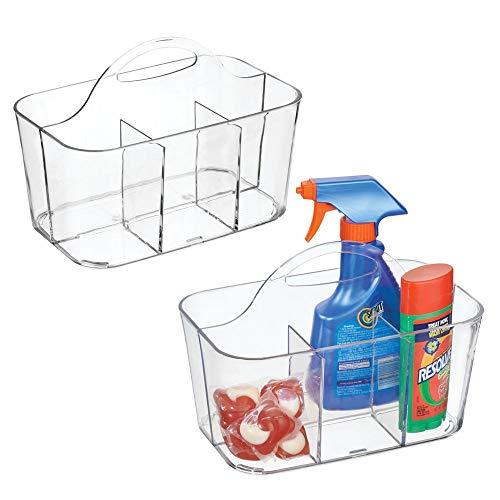 Metrodecor mdesign set da 2 portadetersivi in plastica con manico integrato - contenitori per detersivi ideali anche per il bucato - portaoggetti con 4 vani - trasparente