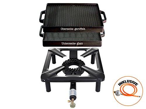 Hockerkocher mit 8.5 kW Leistung, Abmessung 30x30x15 cm und Gusseisengrillplatte 32 x 32 cm inkl. Gasschlauch & Regler