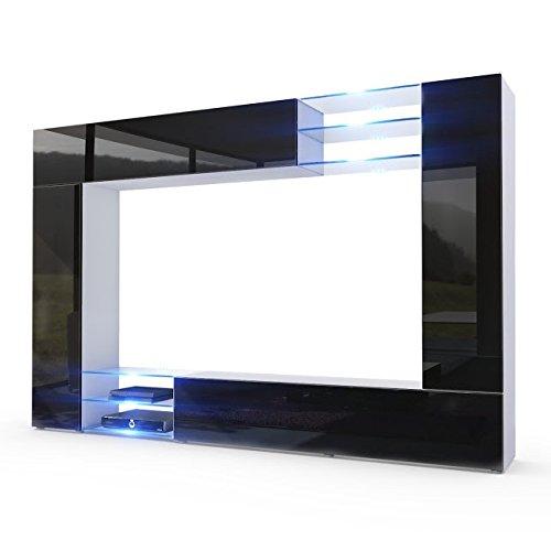 Parete porta tv moderna modello wast finitura nero lucido