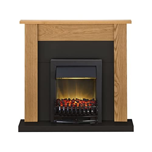 41pnlMmZDIL. SS500  - Adam Southwold Fireplace Suite in Oak and Black with Blenheim Electric Fire in Black, 43 Inches