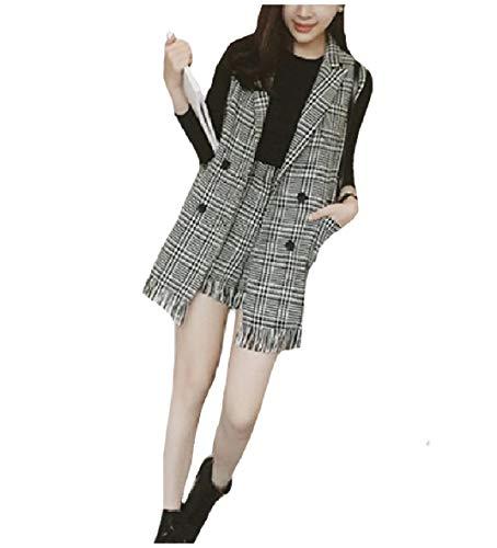 CuteRose Women Plus Size Panelled Shorts Blazer Vest Suit 2PCS Clothing Black L