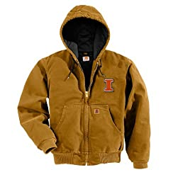 NCAA Illinois Illini Men's Quilted Flannel Lined Sandstone Active Jacket, Large Tall