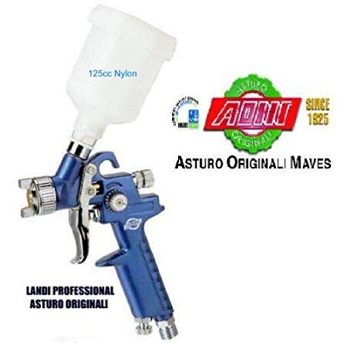 Mini aerografo professionale hvlp spray gun 125cc asturo h-2000 nylon ug. 1.0mm ottimo