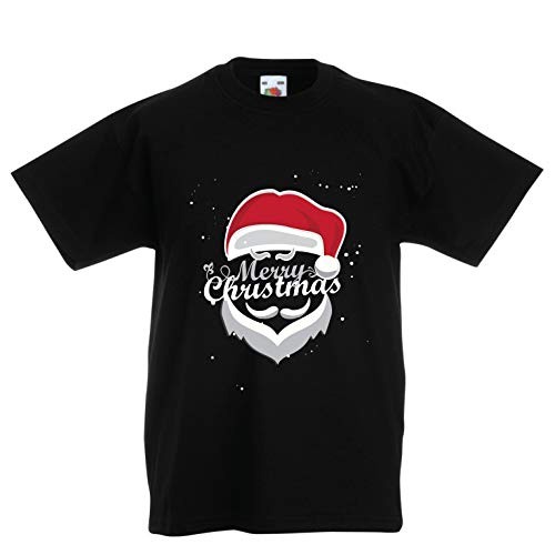 lepni.me Kinder Jungen/Mädchen T-Shirt Frohe Weihnachten - Der Weihnachtsmann kommt in die Stadt (3-4 Years Schwarz Mehrfarben)