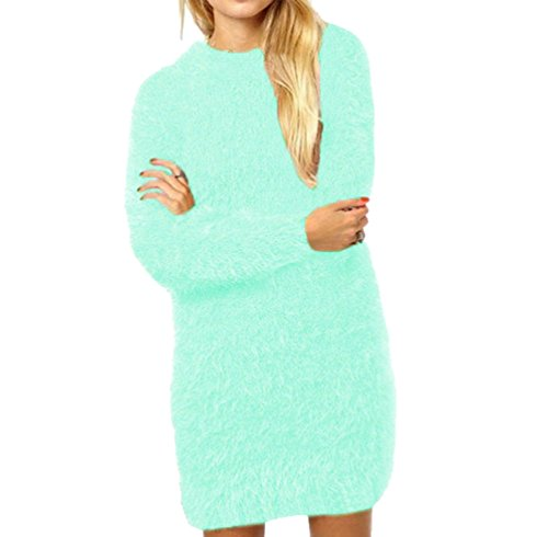 Pull Long Femme Pull Maille Oversize Pull Over Ample Pulls Col Rond Robe Pull Longue Sweater Manche Longue Chandail Tricoté Top Tricot Chic Feminin Chaud Pullover Automne Hiver Chic Simple Vert